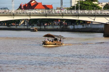 Chiangmai, Thailand -June 11 2014: Travel Ship of mae ping river cruise. For travel in Ping river, Photo at Ping river, Chiangmai, Thailand.