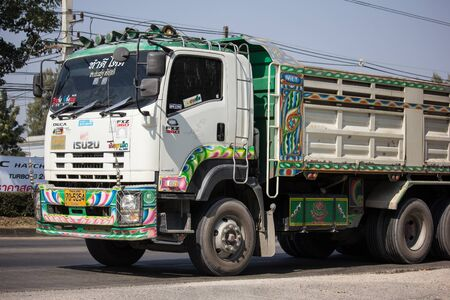 Chiangmai, Thailand - December 12 2019: Private Isuzu Dump Truck. On road no.1001 8 km from Chiangmai Business Area. Editorial