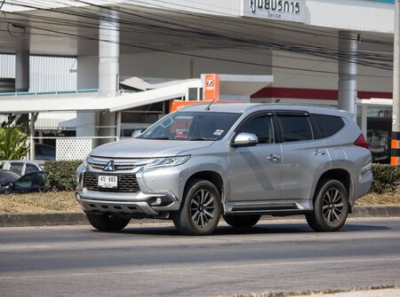 Chiangmai, Thailand - December 12 2019: Private Mitsubishi Pajero Suv Car. On road no.1001 8 km from Chiangmai city. Editorial