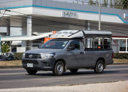 Chiangmai, Thailand - December 12 2019:  Private Pickup Truck Car Toyota Hilux Revo. On road no.1001, 8 km from Chiangmai city.