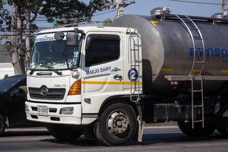 Chiangmai, Thailand - December 16 2019:  Milk Tank Truck of Maejo Dairy cooperatives.  On road no.1001, 8 km from Chiangmai city.