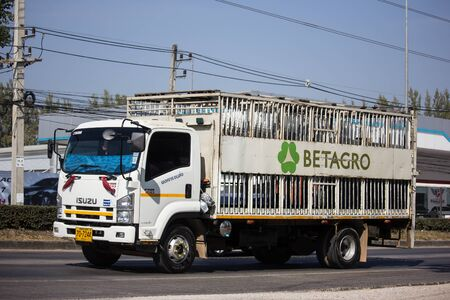 Chiangmai, Thailand - December 16 2019: Pig Animal cage container truck of Betagro Company. On road no.1001, 8 km from Chiangmai Business Area.