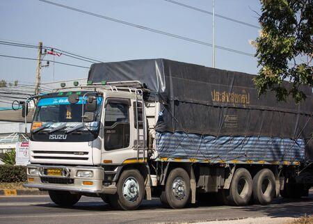 Chiangmai, Thailand - December 16 2019: Private Isuzu Dump Truck. On road no.1001 8 km from Chiangmai Business Area.
