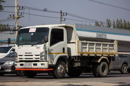 Chiangmai, Thailand - January 9 2020: Private Isuzu Dump Truck. On road no.1001 8 km from Chiangmai Business Area.