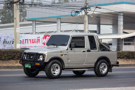 Chiangmai, Thailand - February 18 2020: Private car, Suzuki Caribian. Photo at road no.1001 about 8 km from downtown Chiangmai, thailand.