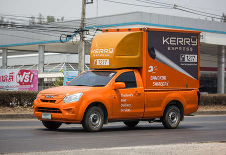 Chiangmai, Thailand - March 24 2020: Kerry logistic Container Pickup truck. Photo at road no 121 about 8 km from downtown Chiangmai, thailand.