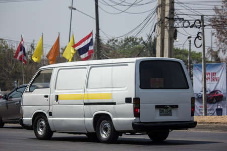 Chiangmai, Thailand - March 6 2020: Private Toyota Hiace old Van Car. On road no.1001, 8 km from Chiangmai city.