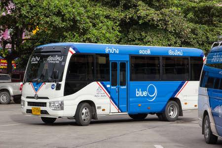 Chiangmai, Thailand - October 10 2020: Mini Bus of Blue9 Company, Toyota coaster. route Lampang and Phrae. Photo at Chiangmai bus station, thailand.
