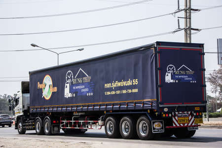 Chiangmai, Thailand - March 4 2021: Trailer Container Cargo Truck of Rung Thip Company. Photo at road no.1001 about 8 km from city center, thailand.