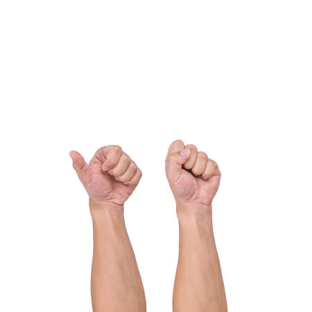 A white male hand gesture showing a finger count on a white background. clipping path.