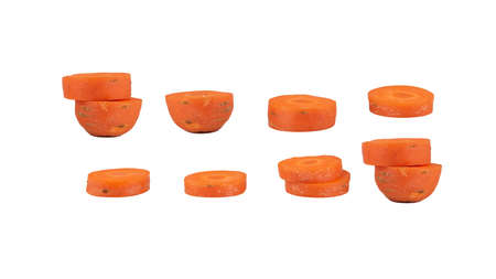 Carrots taken at various angles combined into a single image, isolated on white background, clipping path.