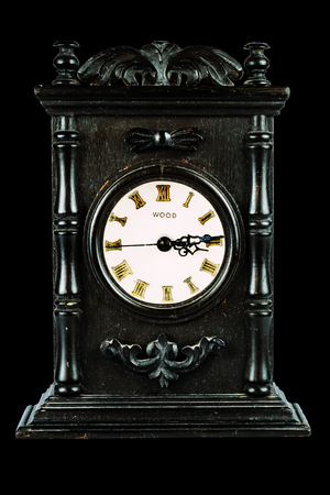 black backgound: Antique Clock On isolated black Backgound, vintage decoration, antique decoration Stock Photo