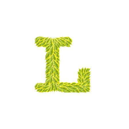Primer Pila De Hojas Verdes En L Alfabeto Inglés Aislado En El Fondo ...