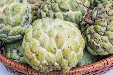 savour: Closeup green custard apple textured background