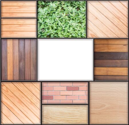 show cases: White square frame by mix of wood board plant and brick texture background