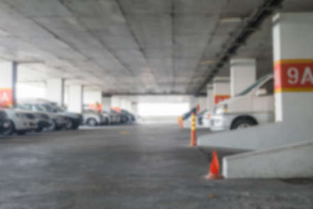 midday: Motion blur of car park of building in midday Stock Photo