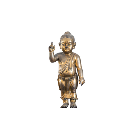 Closeup old brass baby buddha statue isolated on white background Stock fotó