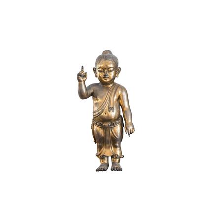 Closeup old brass baby buddha statue isolated on white background Standard-Bild