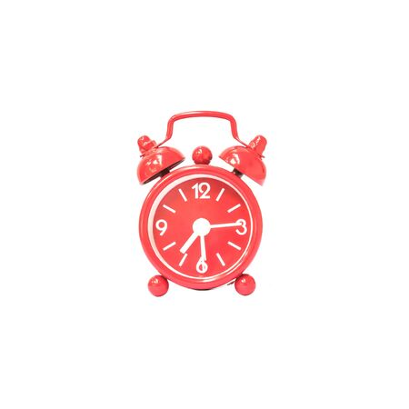 fifteen: Closeup red alarm clock display seven hours and fifteen minutes on screen clock isolated on white background