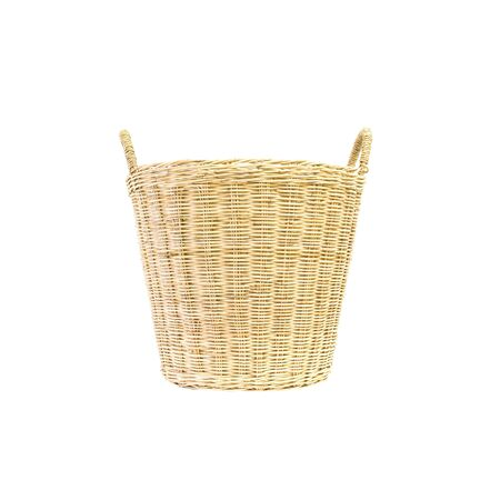 used clothes: Closeup wood weave basket for used clothes in house isolated on white background