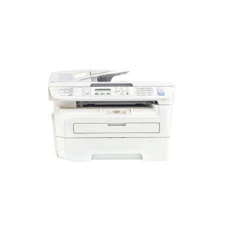fotocopiadora: Closeup old white photocopier in the office , office supplies isolated on white background