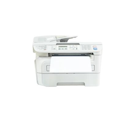 fotocopiadora: Closeup old white photocopier in the office with white paper , office supplies concept isolated on white background