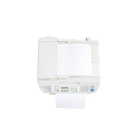 fotocopiadora: Closeup old white photocopier in the office with white paper , office supplies concept isolated on white background in top view Foto de archivo