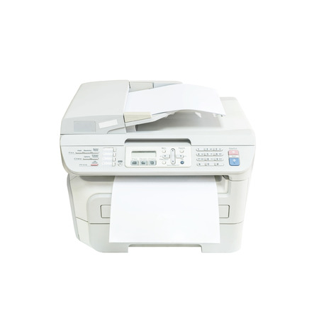 photocopier: Closeup old white photocopier in the office with white paper , office supplies concept isolated on white background