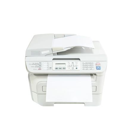 fotocopiadora: Primer vieja fotocopiadora de color blanco en la oficina con papel blanco de oficina concepto aislado en el fondo blanco Foto de archivo