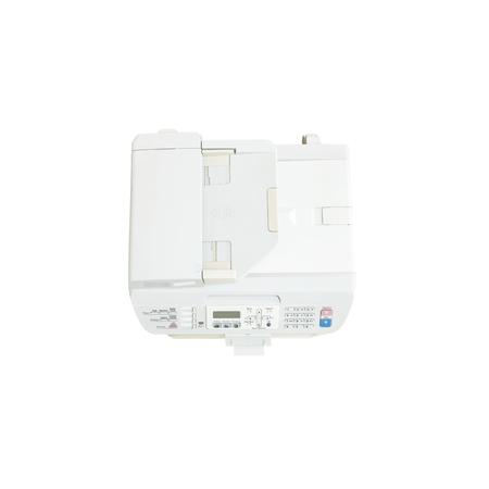 fotocopiadora: Primer vieja fotocopiadora de color blanco en la oficina