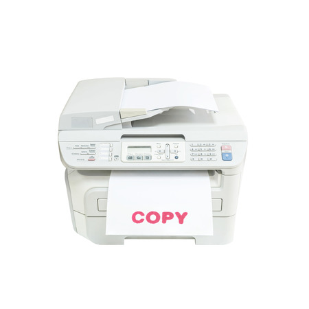 fotocopiadora: Closeup old white photocopier in the office with red ink copy word at the white paper , office supplies concept isolated on white background