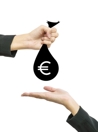 give out: Closeup working woman hand give money bag in euro currency to another people hand hold out to receive isolated on white background in business concept with clipping path