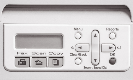fotocopiadora: Closeup surface screen of old photocopier and fax machine in the office textured background in black and white tone