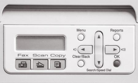 fotocopiadora: Superficie de la pantalla de detalle de la fotocopiadora y fax de edad en el fondo de textura de oficinas en tono blanco y negro Foto de archivo
