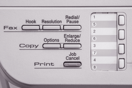 photocopier: Closeup surface function of old photocopier and fax machine in the office textured background in black and white tone Stock Photo