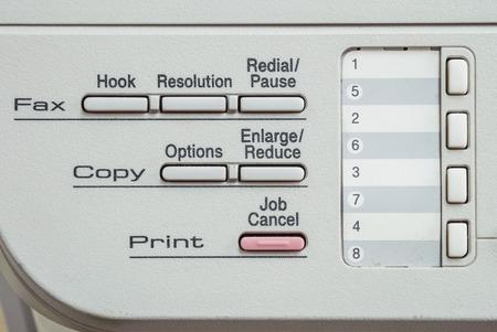 fotocopiadora: función de la superficie de detalle de la fotocopiadora y fax en la oficina de edad con textura de fondo