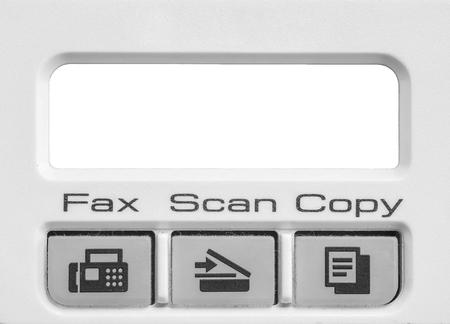 fotocopiadora: función de la superficie de detalle de la fotocopiadora y fax de edad en el fondo de textura de oficinas en tono blanco y negro con el espacio en blanco en la pantalla