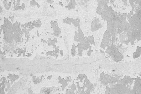 pale color: Closeup pale color and peeling of painted green cement wall textured background in black and white tone Stock Photo