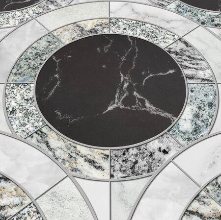 Primo piano della superficie di piastrelle di pattern cerchio mix di marmo di colore pavimento di pietra trama di sfondo