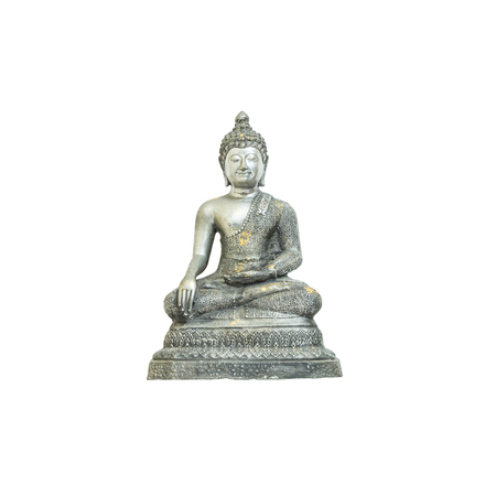 Closeup old silver buddha statue isolated on white background