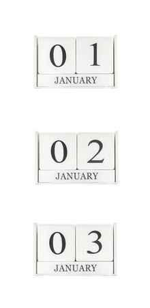 1 and group: Closeup group of white wooden calendar with black 1 , 2 , 3 january word , three date calendar isolated on white background Stock Photo