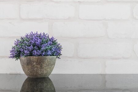 Closeup artificial purple plant on pot for decorate on black glass table and white brick wall textured background with copy space Stock Photo