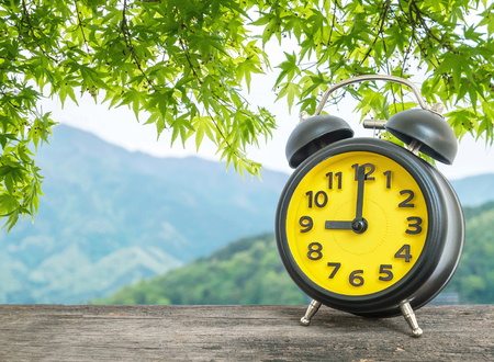 pm: Closeup black and yellow alarm clock for decorate in 9 oclock on blurred leaves and mountain view background