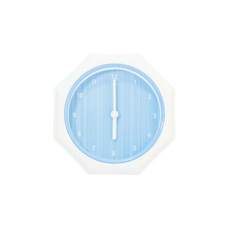 Closeup blue wall clock for decorate in 6 oclock isolated on white background with clipping path Stock Photo