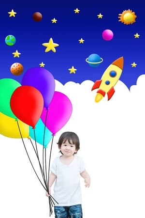 Closeup happy asian kid hold colorful balloon and cute cartoon background