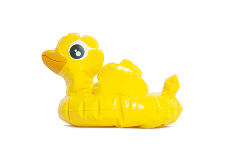 Closeup yellow duck inflatable doll isolated on white background with clipping path Stock Photo