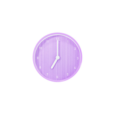 Closeup purple circle wall clock for decoration show 7 oclock isolated on white background