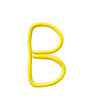 Closeup yellow plasticine for kid in B alphabet isolated on white background Stock Photo