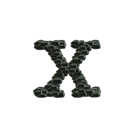 Closeup pile of black stone in X english alphabet isolated on white background