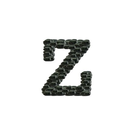 Closeup pile of black stone in Z english alphabet isolated on white background